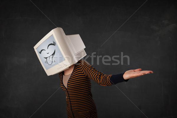若い女の子 着用 モニター ファニーフェース ジェスチャー 女性 ストックフォト © ra2studio