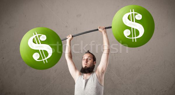 Flaco tipo verde signo de dólar pesos Foto stock © ra2studio