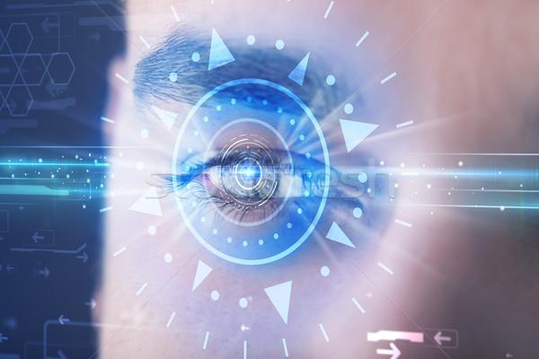 Férfi szem néz kék írisz modern Stock fotó © ra2studio