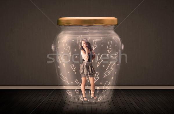 Imprenditrice vetro jar fulmini disegni Foto d'archivio © ra2studio
