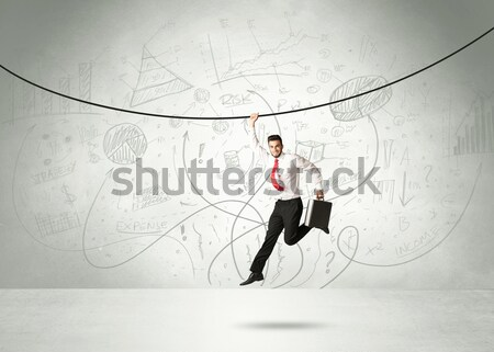 Stockfoto: Opknoping · zakenman · touw · analyse · grafieken · hand