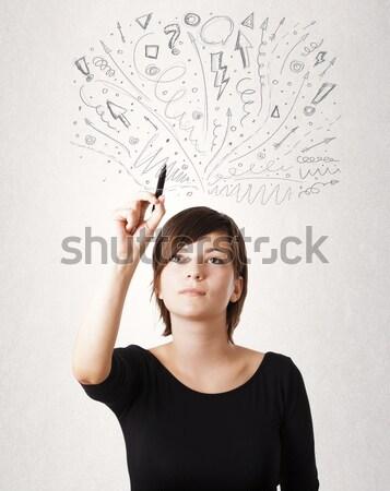 Genç kadın işaretleri yüz saç Stok fotoğraf © ra2studio