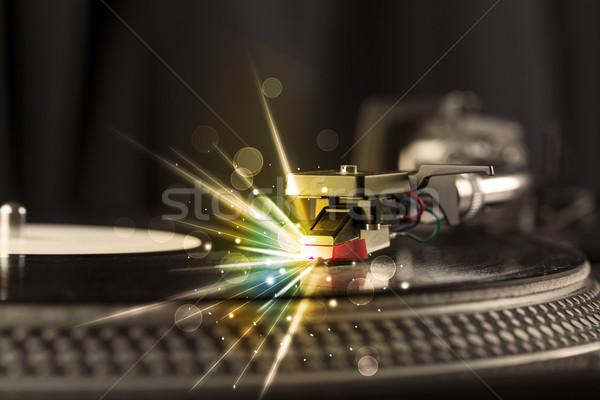 音楽プレーヤー 演奏 ビニール グロー 行 必要 ストックフォト © ra2studio