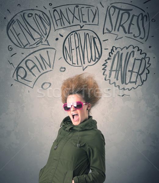 Deli genç kadın aşırı kadın yüz Stok fotoğraf © ra2studio