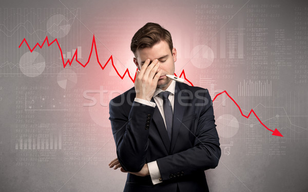 Sick businessman with decreasing performance concept Stock photo © ra2studio