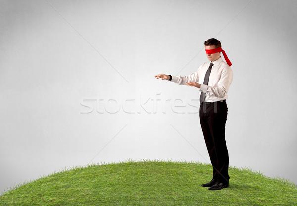 Fiatal bekötött szemű üzletember lépcső folt fű Stock fotó © ra2studio