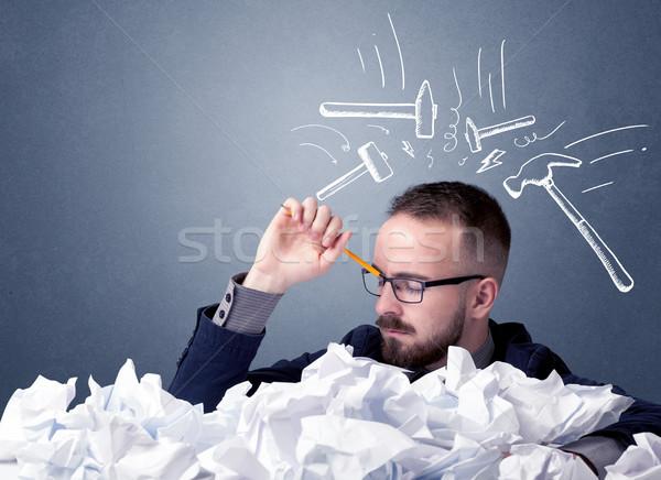 бизнесмен бумаги молодые сидят за Сток-фото © ra2studio