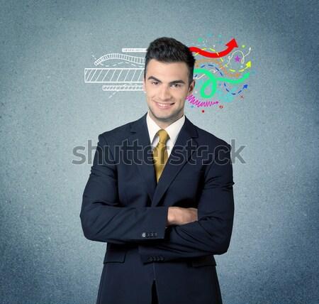 businessman watching on a virtual shield sign Stock photo © ra2studio