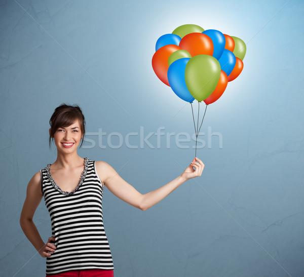 Stok fotoğraf: Genç · kadın · renkli · balonlar · güzel · kadın