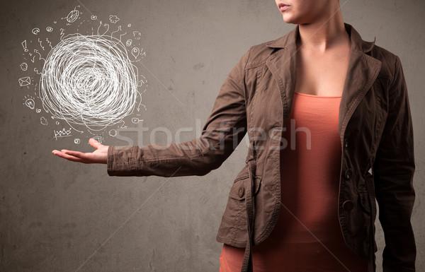 Kaos el kadın genç kadın iş Stok fotoğraf © ra2studio