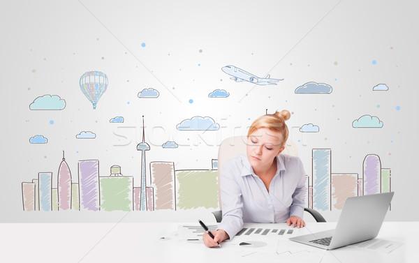 Bastante empresária colorido cidade atraente Foto stock © ra2studio