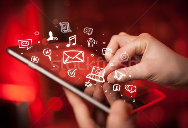 ストックフォト: 指 · ポインティング · ソーシャルメディア · 手 · 触れる