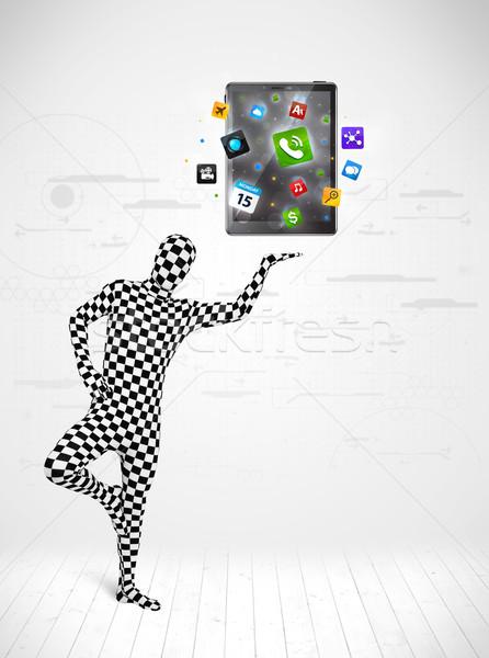 Férfi egészalakos öltöny táblagép vicces új Stock fotó © ra2studio