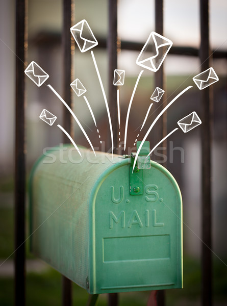 Hand drawn envelopes comming out of a mailbox Stock photo © ra2studio