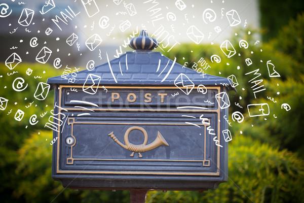 Postaláda fehér kézzel rajzolt posta ikonok papír Stock fotó © ra2studio