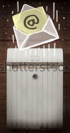 Omhoog mailbox straat hek papier muur Stockfoto © ra2studio
