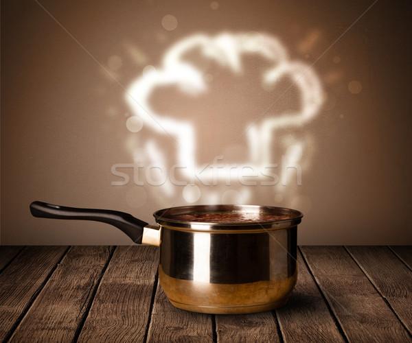 Szakács sapka fölött lábas ki fa asztal étterem Stock fotó © ra2studio