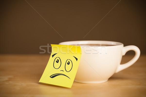 Uwaga kubek filiżankę kawy papieru Zdjęcia stock © ra2studio