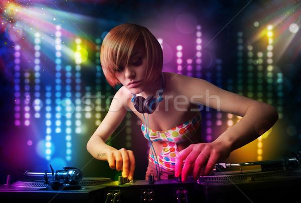 Kız oynama disko ışık göstermek güzel Stok fotoğraf © ra2studio