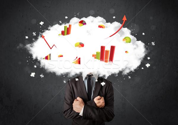 Stockfoto: Moderne · zakenman · grafiek · wolk · hoofd · business