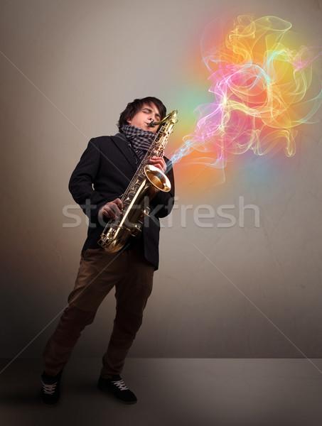 Foto stock: Atraente · músico · jogar · saxofone · colorido · abstrato