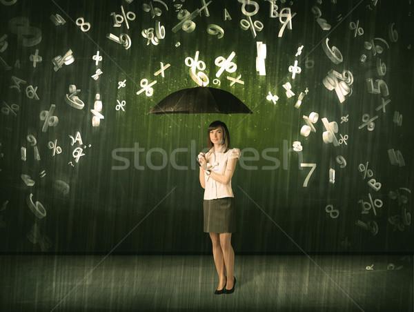 üzletasszony áll esernyő 3D számok esik az eső Stock fotó © ra2studio