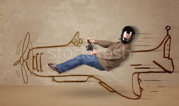 Vicces pilóta vezetés kézzel rajzolt repülőgép fal Stock fotó © ra2studio