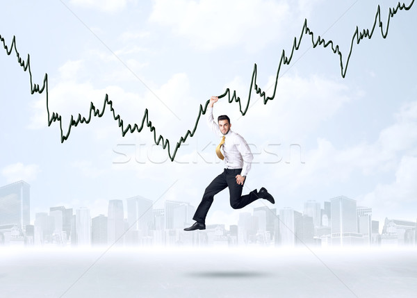 Akasztás üzletember grafikon kötél kéz űr Stock fotó © ra2studio