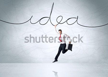 Opknoping zakenman idee touw hand achtergrond Stockfoto © ra2studio