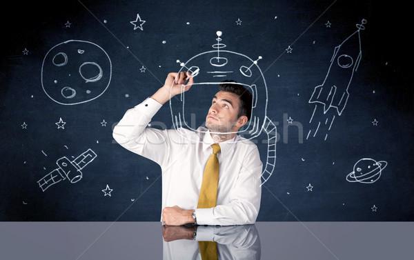 Eladó személy rajz sisak űr rakéta Stock fotó © ra2studio