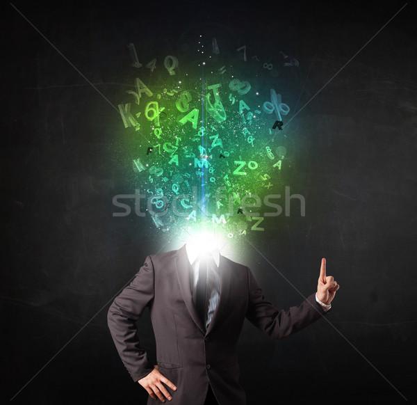 Uomo d'affari abstract lettere testa faccia Foto d'archivio © ra2studio