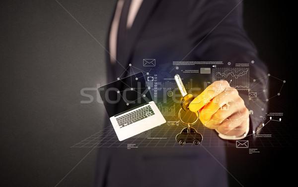 ストックフォト: ビジネスマン · キー · 周りに · スーツ