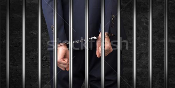Close handcuffed man in jail Stock photo © ra2studio