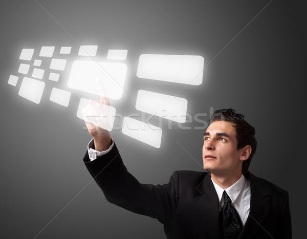 Iş adamı düğme dokunmatik ekran bilgisayar el Stok fotoğraf © ra2studio