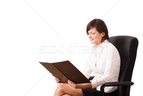 Foto stock: Mulher · jovem · branco · cópia · espaço · isolado · negócio