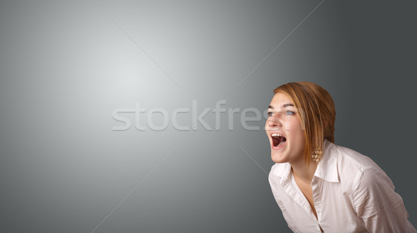 Stock photo: Young woman making gestures