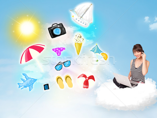 Young businessman sitting in cloud with laptop Stock photo © ra2studio