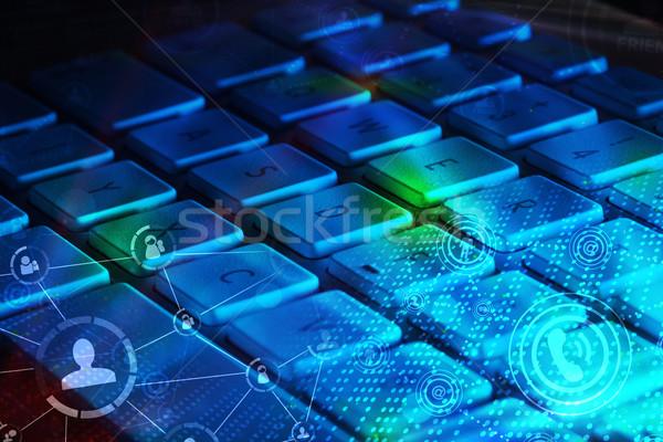 ストックフォト: キーボード · 社会的ネットワーク · アイコン · コンピュータのキーボード · 社会