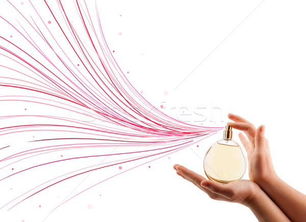 woman hands spraying colorful lines Stock photo © ra2studio