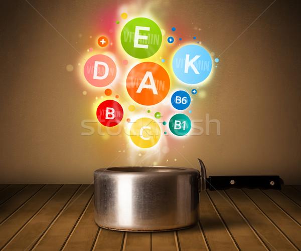 Farbenreich Vitamine heraus Kochtopf gesunde Lebensmittel Metall Stock foto © ra2studio