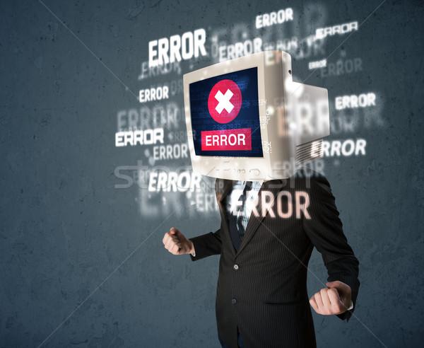 Uomo d'affari pc monitor testa errore di messaggi Foto d'archivio © ra2studio
