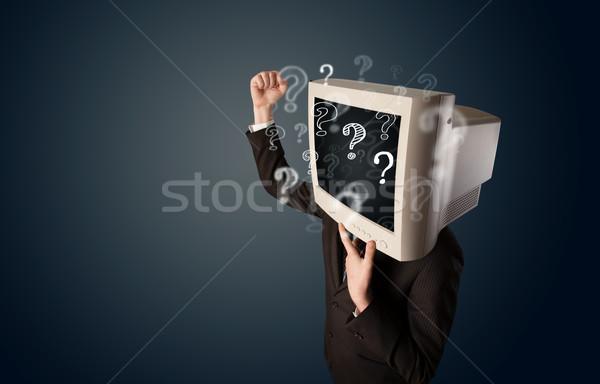 бизнесмен Компьютерный монитор голову бизнеса лице Сток-фото © ra2studio