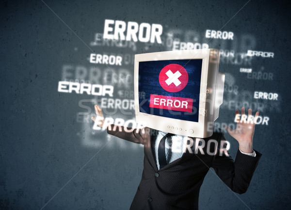 Business man with pc monitor on his head and error messages on t Stock photo © ra2studio