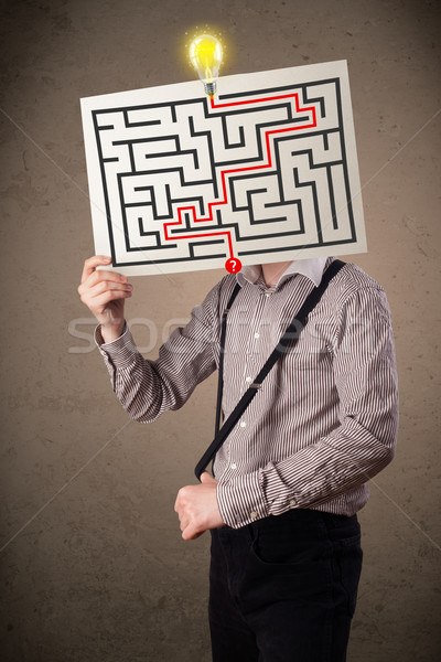 Zakenman papier labyrint jonge man Stockfoto © ra2studio