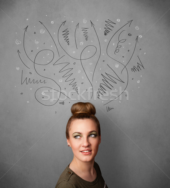 Young woman thinking with arrows over her head Stock photo © ra2studio