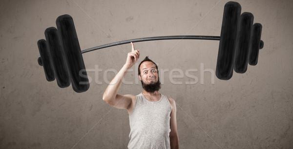 Stock foto: Funny · guy · Heben · Gewichte · unglaublich