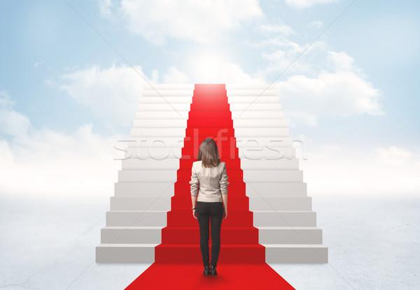 見える 階段 天国 女性実業家 ビジネス 少女 ストックフォト © ra2studio