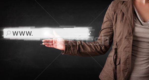 молодые деловая женщина прикасаться веб браузер адрес Сток-фото © ra2studio