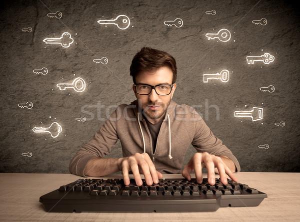 Hacker inek öğrenci adam parola tuşları Stok fotoğraf © ra2studio