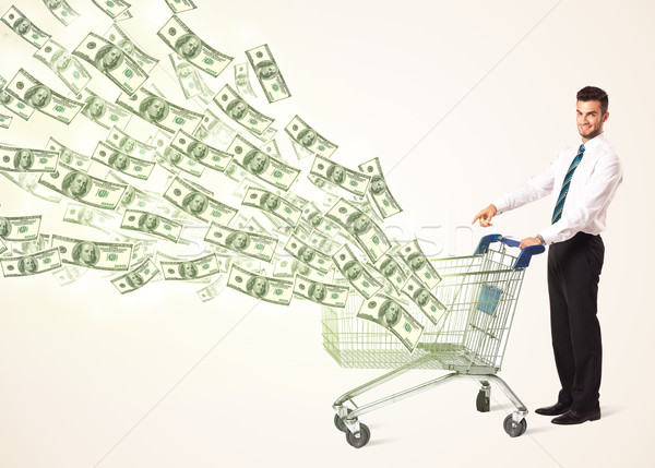Zdjęcia stock: Biznesmen · koszyk · popychanie · na · zewnątrz · działalności